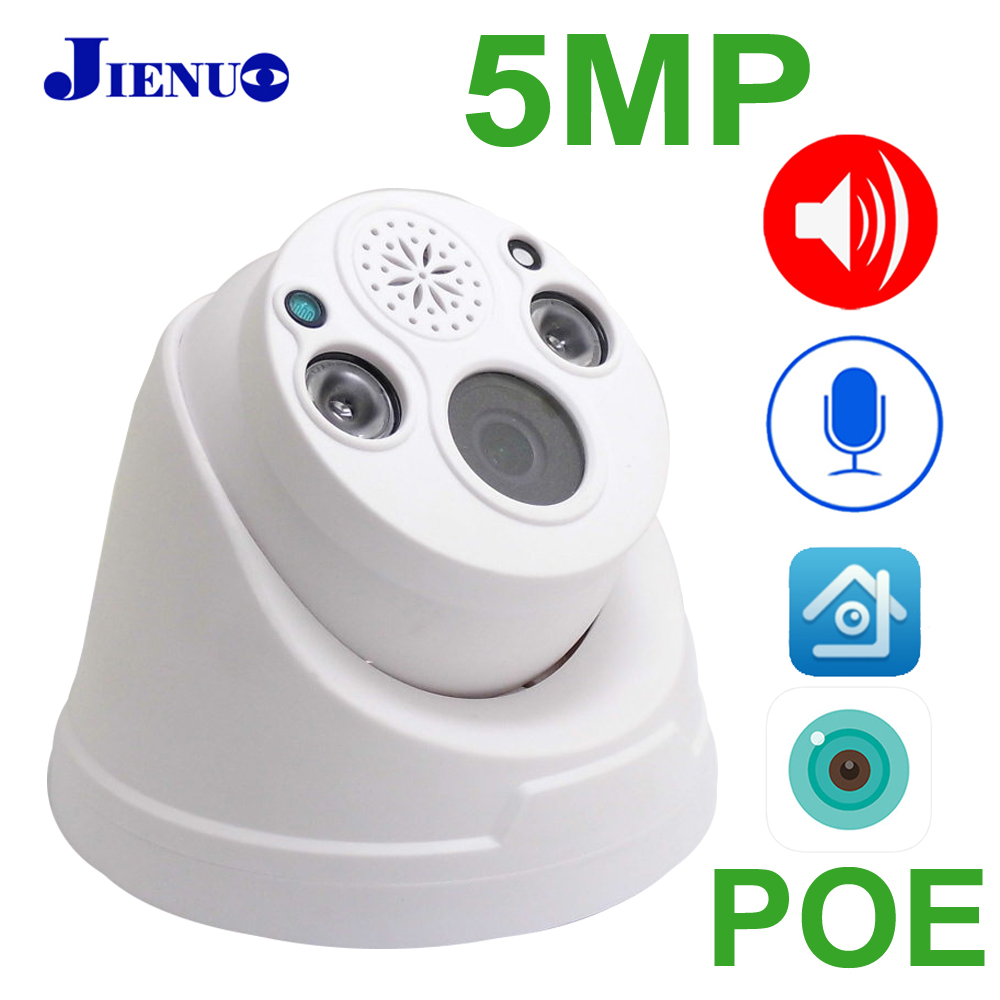 JIENUO 5MP POE Camera IP Two-Way Voice IPC Security Surveillance HD Video Auido IPCam Night Vision Infrared CCTV Poe Home Camera