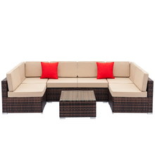 Fully Equipped Weaving Rattan Sofa Set with 2pcs Corner Sofas & 4pcs Single Sofas & 1 pcs Coffee Table