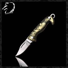 Nowości mosiądz Vintage Eagle składany nóż CS Go noże Mini kieszeń brelok narzędzie noże myśliwskie Survival dla mężczyzny kobiety tanie tanio ELEDEFENSE Metalworking Brass STAINLESS STEEL Camping Outdoor EDC Knife 2020 Dropshipping