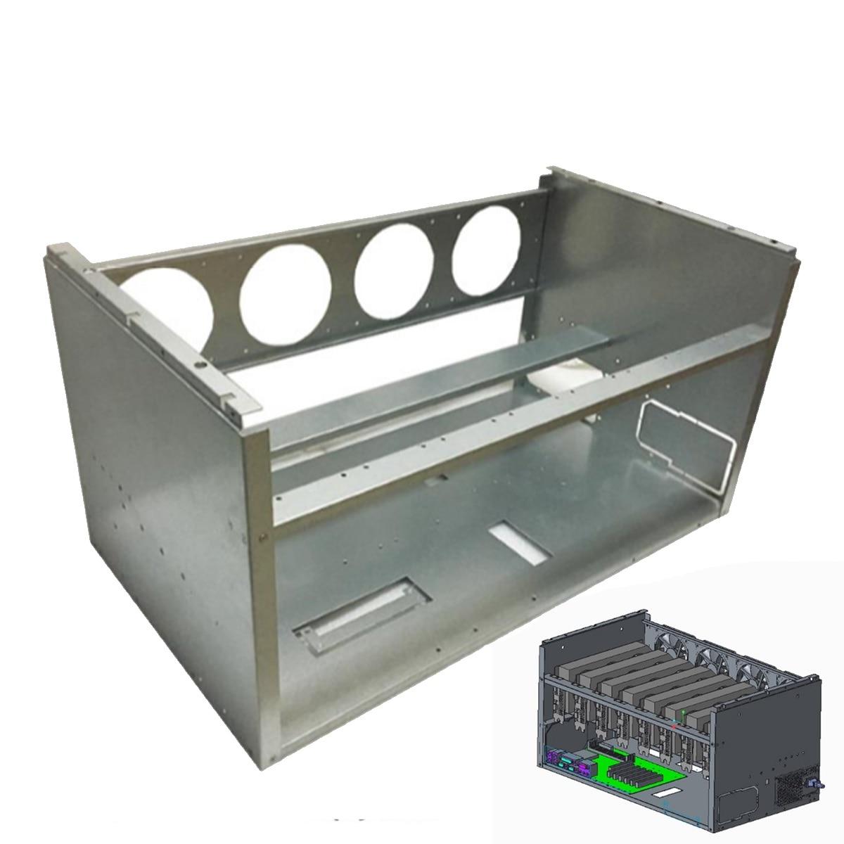 New 8 GPU 4 Fans Open Air Pro Mining Computer Alloy Case Frame Rig Stackable Case for 8 GPU ETH BTC ZEC Ethereum