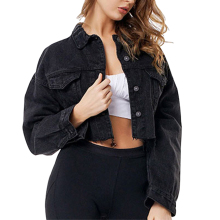 купить WENYUJH Black Drop Shoulder Long Sleeve Frayed Hem Ripped Crop Denim Jacket Women High Street Single Breasted Solid Short Jacket в интернет-магазине