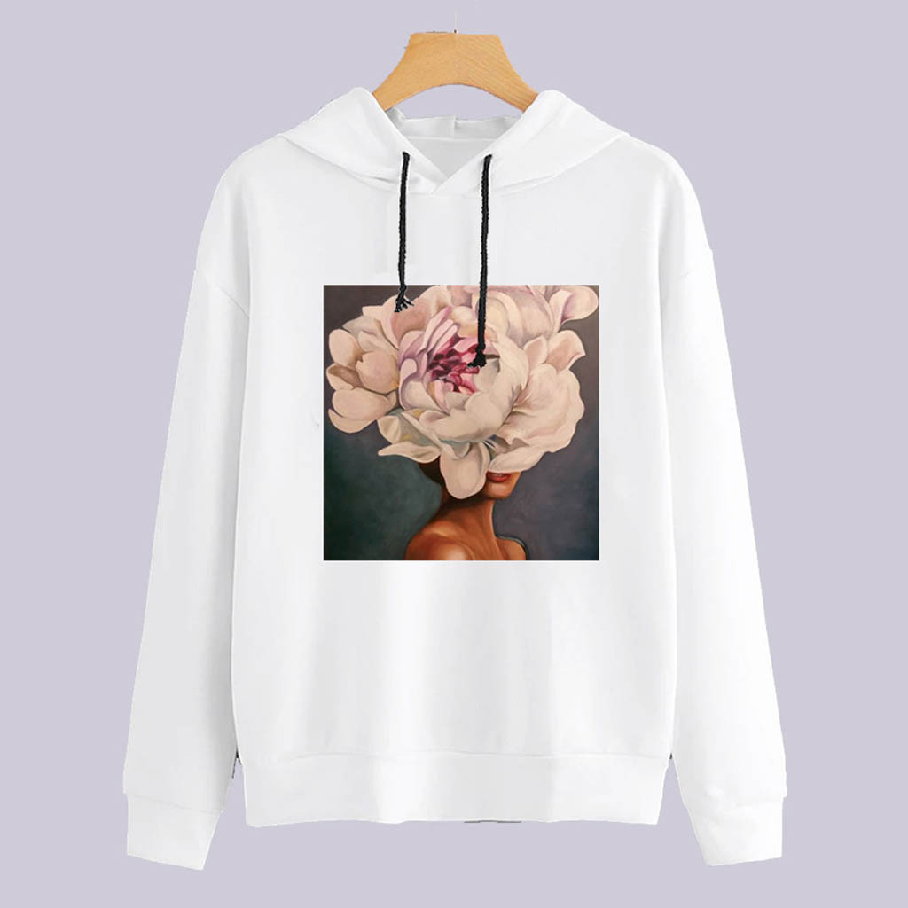 Harajuku Women Sweatshirt Hoodies Floral graphic Printing Long Sleeves Loose Casual Tops Autumn Sports wear sudadera mujer 2020