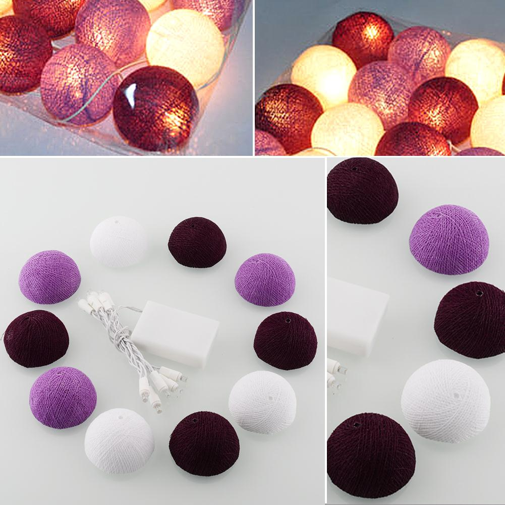 Cotton Ball Lights LED String Light White+Light Purple+Dark Handmade 1.8M Romantic Aladin Ball Wedding Cotton Decoration Decors