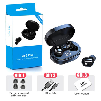 PJD A6S Plus TWS Wireless Bluetooth Headsets Earphones Stereo Headphones Sport Noise Cancelling Mini Earbuds for All Smart Phone 6