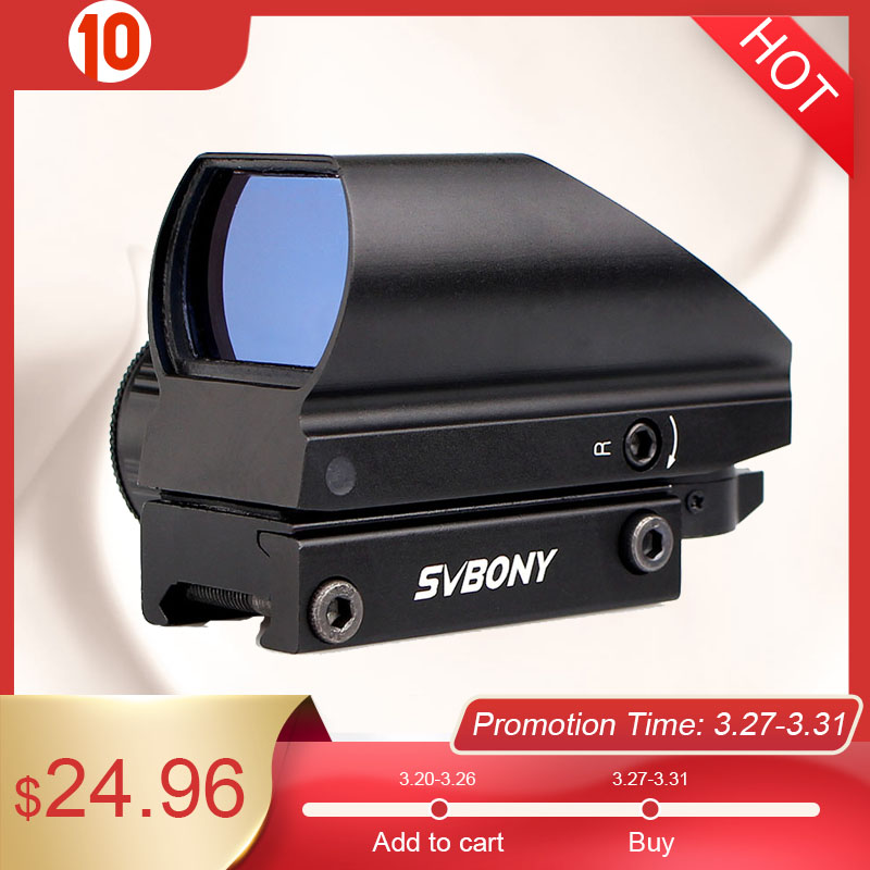 SVBONY 20mm Reflex Sight Riflescope Dovetail Sight Green Red Dot Tactical Sight Optical Coated Shooting Hunting Gun Scope F9129B