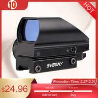 SVBONY 20mm Reflex Sight Riflescope Dovetail Sight Green Red Dot Tactical Sight Optical Coated Shooting Hunting Gun Scope F9129B