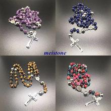 Pierres semi-précieuses naturelles en acier inoxydable, pendentifs croisés, longs colliers chapelet, à la mode, bijoux pour hommes, livraison gratuite