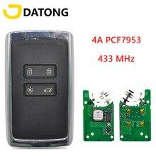 Datong World Car Remote Key For Koleo 2015 Megane 4 Talisman Espace 5 Kadjar 4A PCF7953M 433FSK Keyless Go Promixity Smart Card