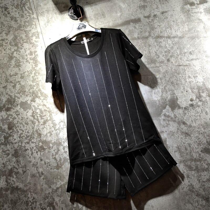 Plus Size Women's Two Piece Set Roma Cotton Hot Drilling Diamond Short Sleeve T Shirt + Slim Fit Elastic Waist Shorts Ropa Mujer