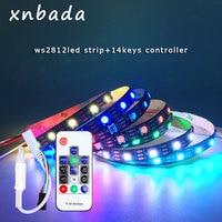 Tira de LED WS2812B con Kit de controlador remoto inalámbrico RF de 14 teclas, tira de Led RGB inteligente direccionable individualmente a prueba de agua