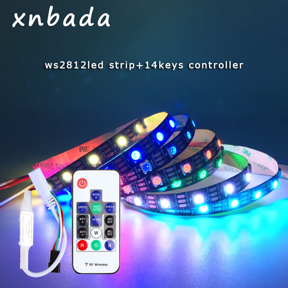 WS2812B LED Strip Ith 14 Keys RF Wireless Remote Controller Kit Individually Addressable Smart RGB Led Strip Waterproof