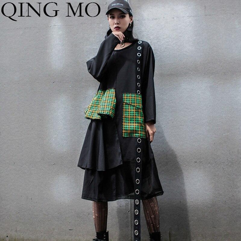QING MO marque de mode maille Patchwork femmes robe 2019 automne femmes Plaid Patchwork robe anneaux ronds robe ZQY1562