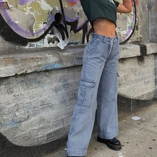 Boyfriends Jeans Cargo-Pants High-Waist Denim Harajuku-Pockets Wide-Leg Straight Woman
