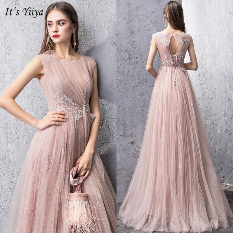 It's Yiiya Evening Dress 2019 Elegant Sleeveless A-Line Robe De Soiree O-Neck Appliques Floor-Length Women Party Dresses V066