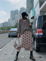 Thick Autumn Winter Women Skirts High Elastic Polk Dot Long Knitted Sweater Skirt Warm Female black pencil skirt SA497S30
