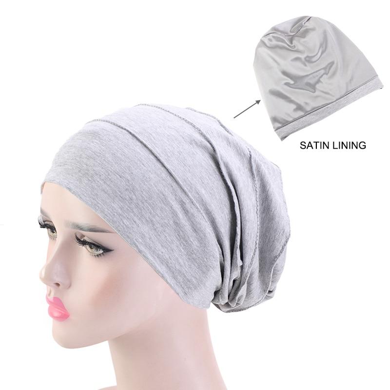 Soft Chemo Cap Hair Loss Hat Satin Lining Sleep Beanie Hat Women Headwrap Muslim Turban New Fashion Head Wear Hair Accessories