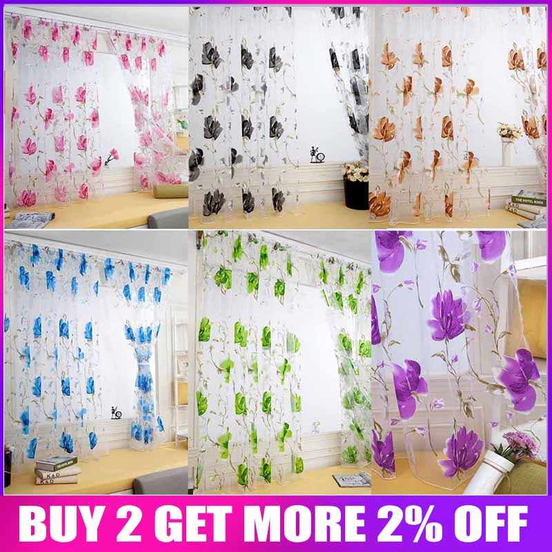 1 PCS Vines Leaves Tulle Door Window Curtain Drape Panel Sheer Scarf Valances Modern Bedroom Living Room Curtains Cortinas