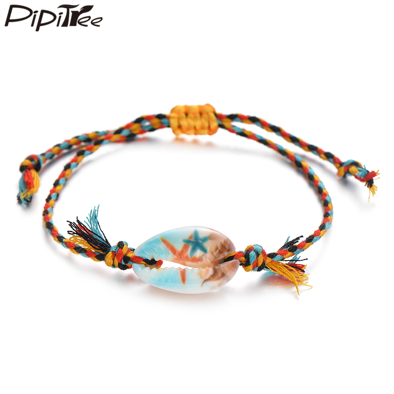 Pipitree Sea Shell Charm Bracelet Handmade Bohemian Print Rope Braided Bracelets for Women Men Kids Boho Beach Jewelry Gift