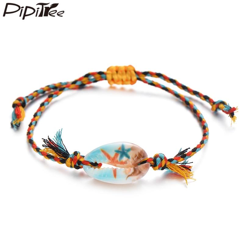 Pipitree Sea Shell Charm Bracelet Handmade Bohemian Print Rope Braided Bracelets for Women Men Kids Boho Beach Jewelry Gift