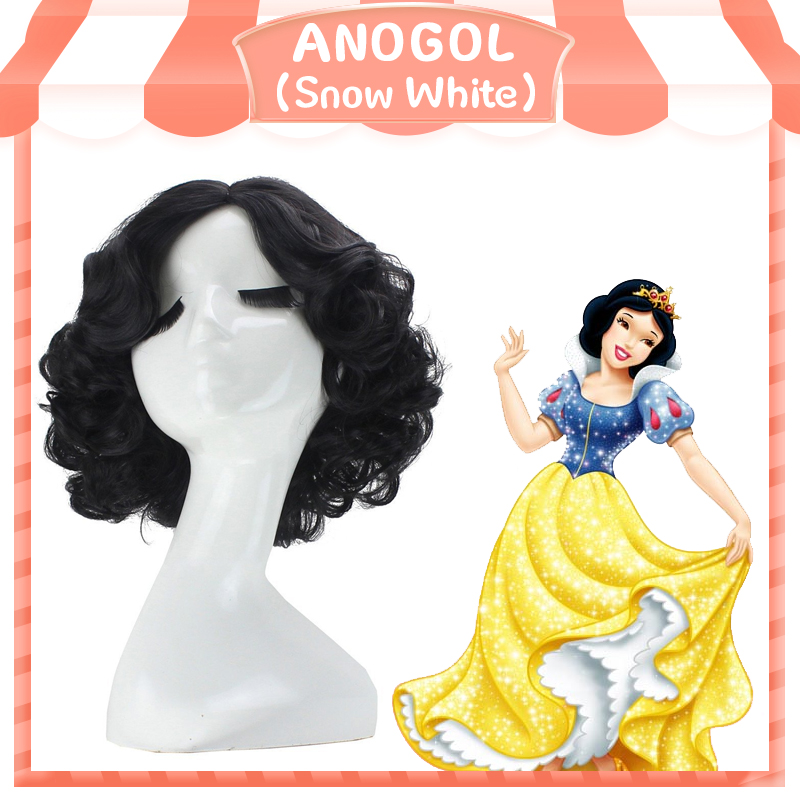 Anogol Short Curly Snow Black High Temperature Fiber Synthetic Hair White Princess Cosplay Wig For Halloween