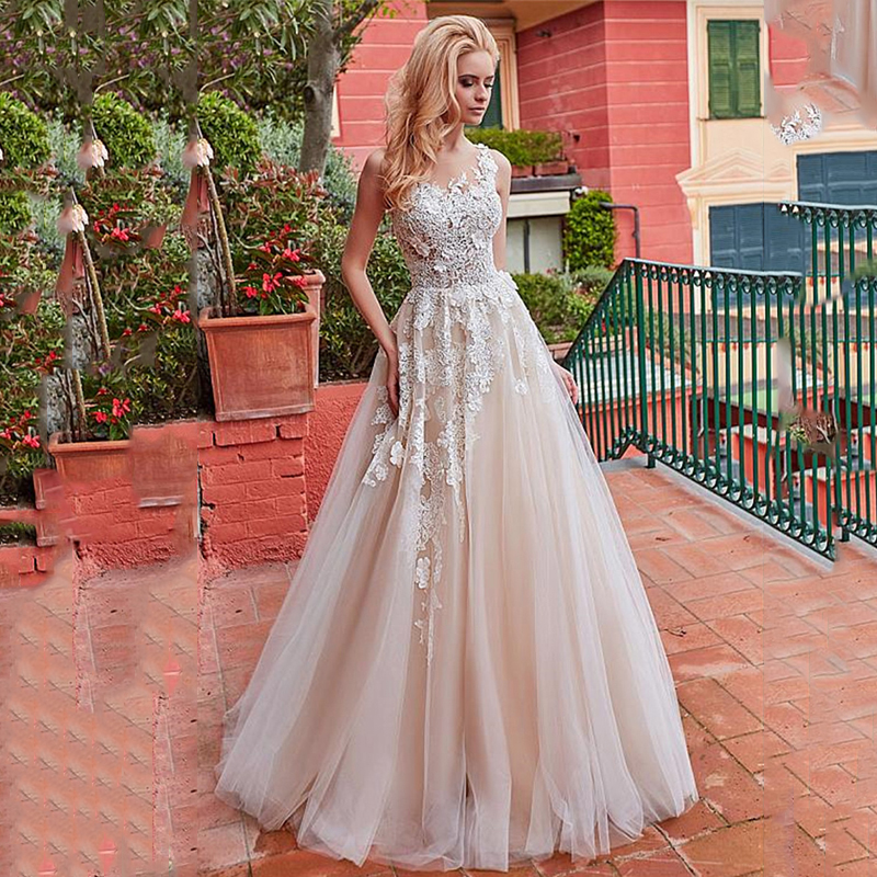 Verngo Elegant A-line Wedding Dress Appliques Lace Tulle Bride Dress Floor Length Wedding Gowns Robe De Mariee