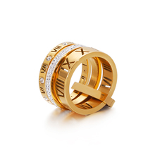 Luxury Stainless Steel Letter Rings 1 Piece Hiphop Finger Jewelry Accesorios Big Zircon Rose Gold Ring Set Gifts for Women