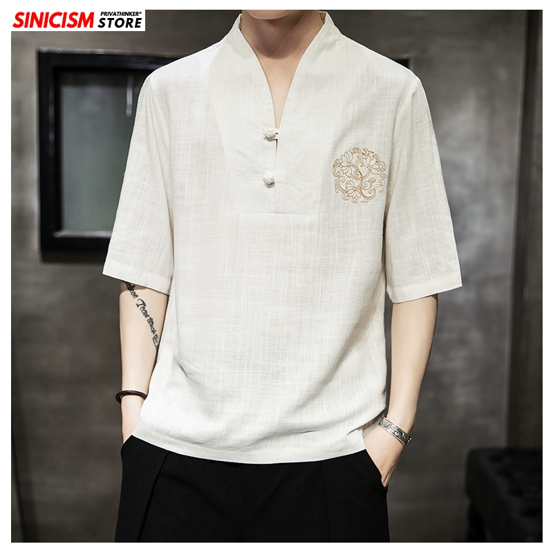 Sinicism Store 2020 Men Oversize Cotton Linen Casual TShirts Mens 5XL Summer Loose TShirts Male Vintage Chinese Style Clothes
