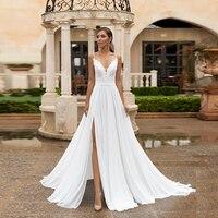 Jiayigong Chiffon Beach Wedding Dress Sexy Spaghetti Straps V Neck Boho Bride Dresses Side Slit Backless Bridal Gown Robe Mariee