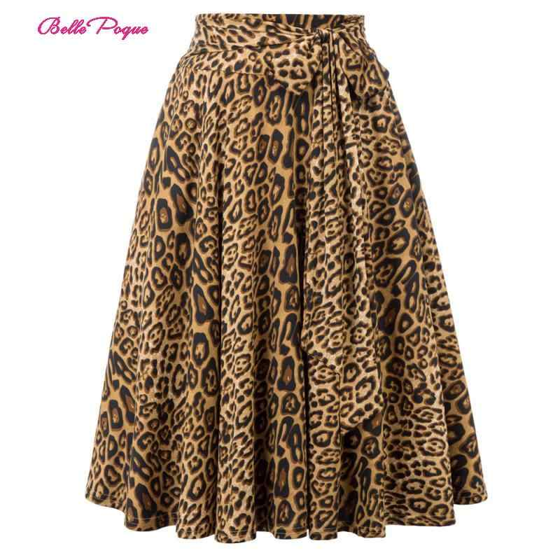 Belle Poque Retro Women Skirts Fashion 2019 Animal Print High Waist Skirt With Pockets Bow Belt Flared Leopard Pleated Skirt