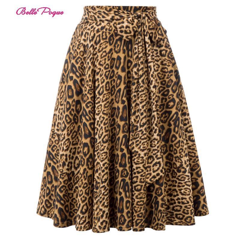 Belle Poque Retro Women Skirts Fashion 2019 Animal Print High Waist Skirt With Pockets Bow Belt Flared Leopard Pleated Skirt