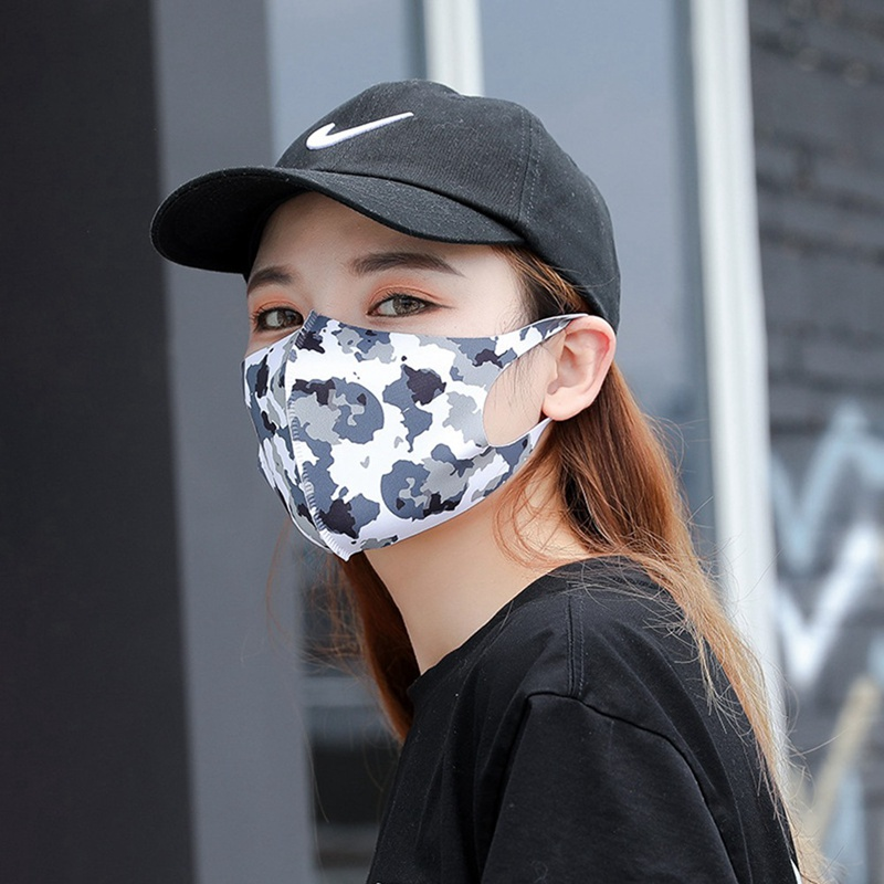 1 PC Colorful Printing Ice Silk Mouth Mask Dustproof Mouth Reusable Facial Cover Breathable Face Mask Washable Dropship New