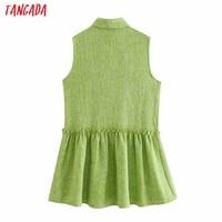 Tangada Women Green Tweed Dress Sleeveless Backless 2021 Fashion Lady Shirt Dresses 3H187 6