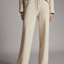 Loose Trousers Straight-Pants Spring Elastic-Waist Knitted Sports-Style Solid-Color Women