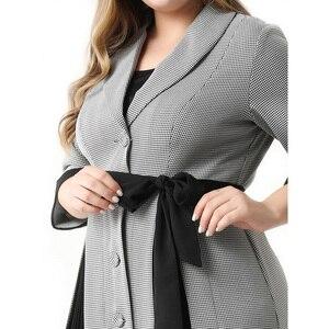 Image 5 - Abaya Vestidos largos de talla grande para mujer, moda de talla grande, elegante, informal, costura, traje de una sola botonadura, Midi, verano 2020
