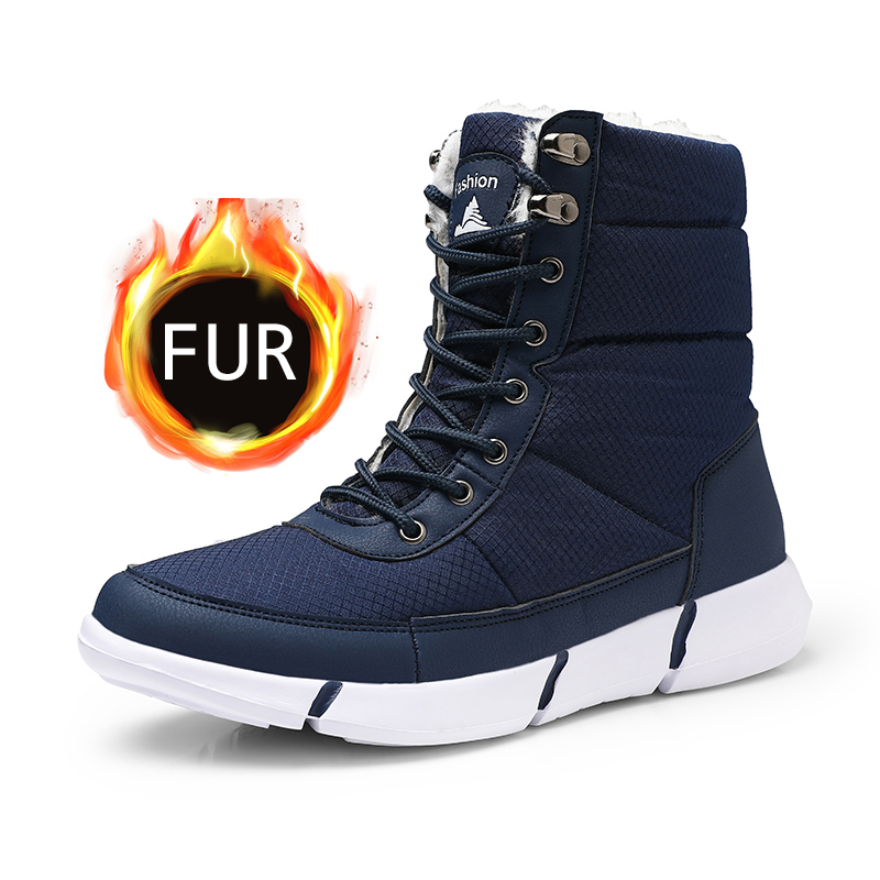 Men Boots 2019 Winter Waterproof Snow Men Boots Shoes With Fur Plush Warm Male Casual Women Mid-Calf Boot Sneakers Unisex