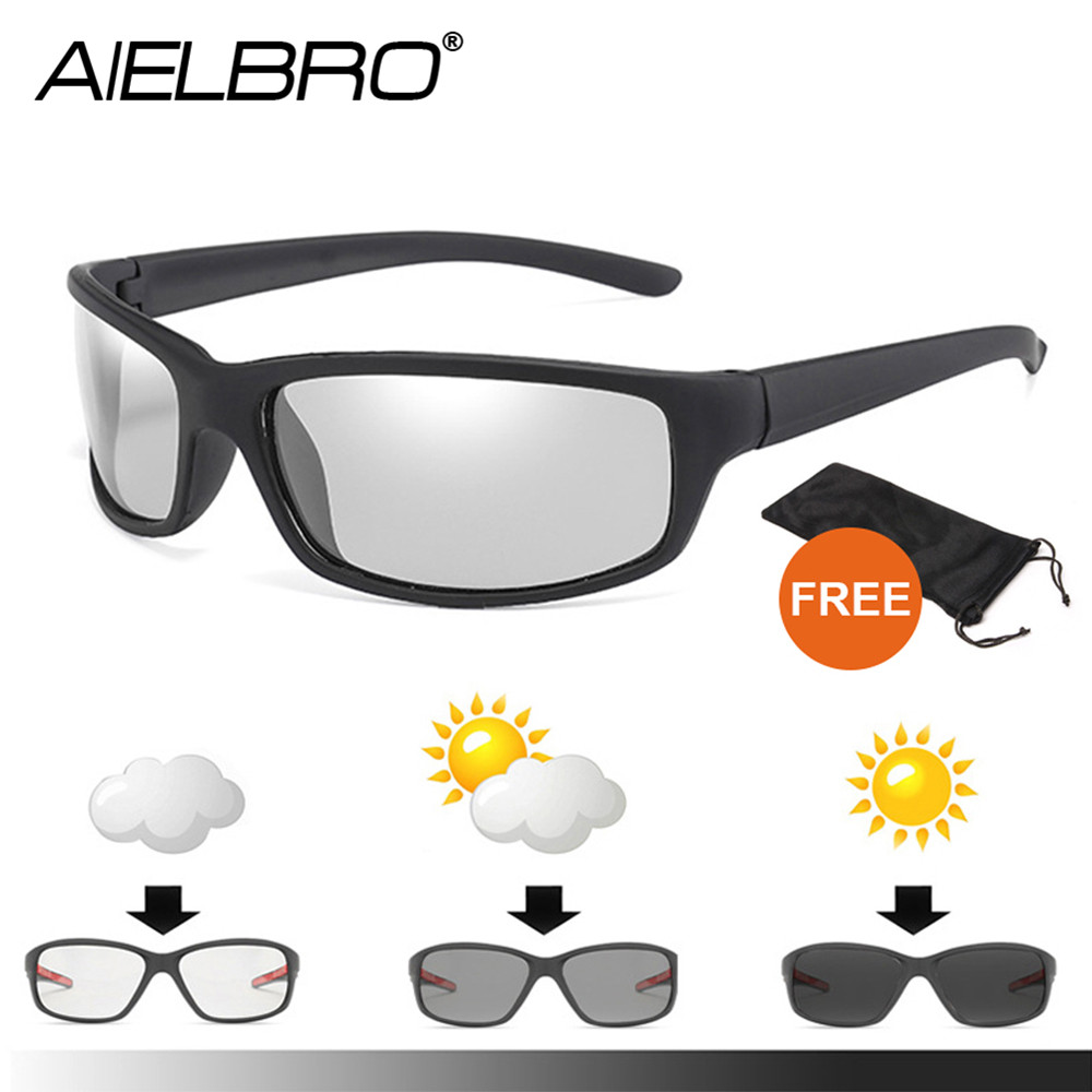AIELBRO Photochromic Cycling Sunglasses Black Frame Polarized Photochromic Glasses Oculos Ciclism Man Brand Polarized Sunglasses