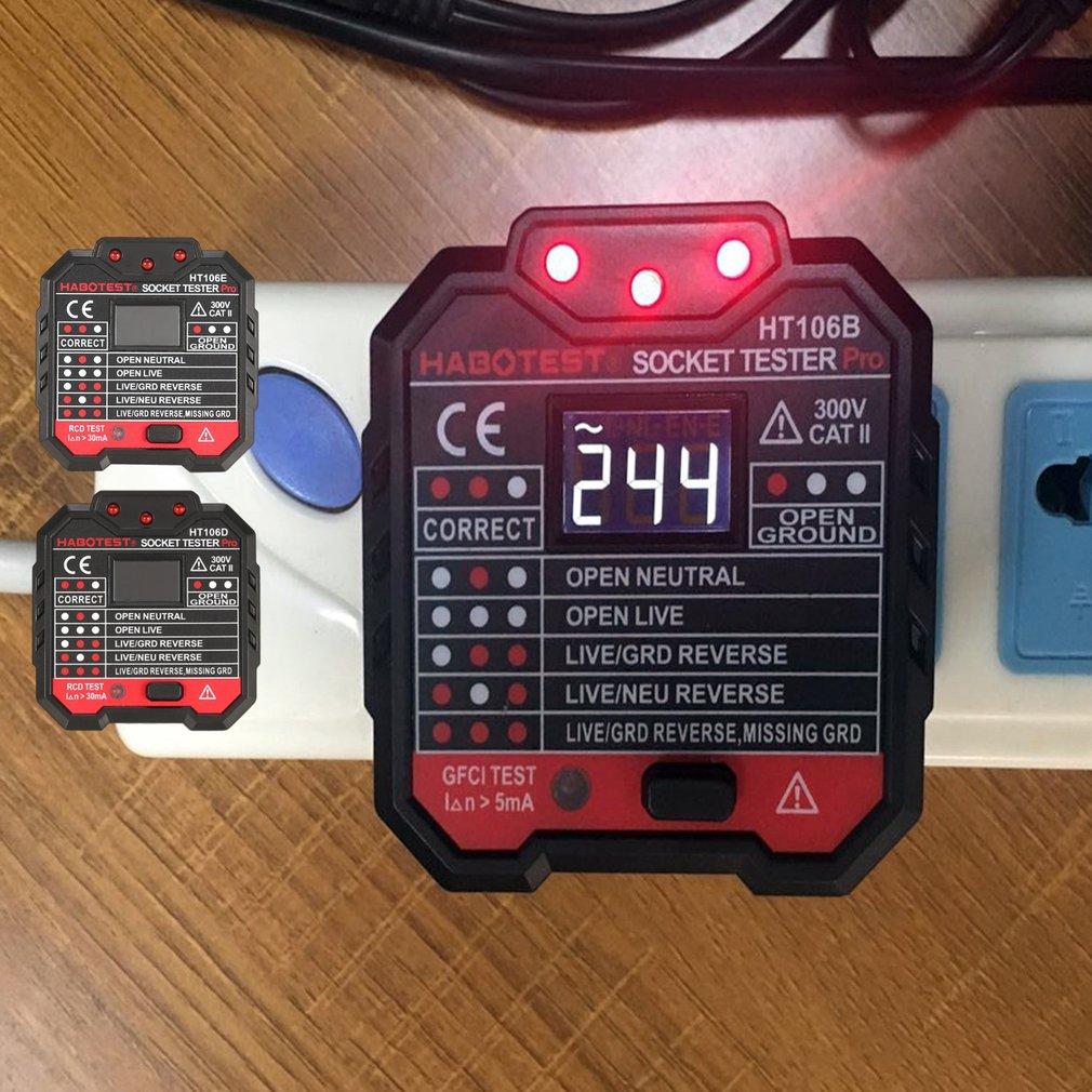 HT106 Socket Tester Pro Voltage Test Socket Detector UK EU Plug Ground Zero Line Plug Polarity Phase Check