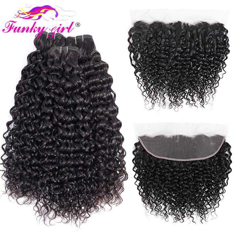 H76468fff123145c3a726fa8c0c0e4357C Funky Girl Brazilian Water Wave Human Hair 2/3/4 Bundles With Lace Frontal Closure With Bundles Ear To Ear Lace Frontal Non-Remy