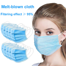 Gorąca sprzedaż 3 warstwę maski na 20 sztuk twarzy maski na usta włókniny jednorazowe ochrona przed kurzem tkanina Meltblown maski Earloops maski KN95