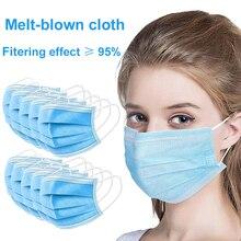 Offre Spéciale 3 couches masque 20 pièces visage bouche masques Non tissé jetable Anti poussière meltsoufflé tissu masques boucles doreilles masques KN95