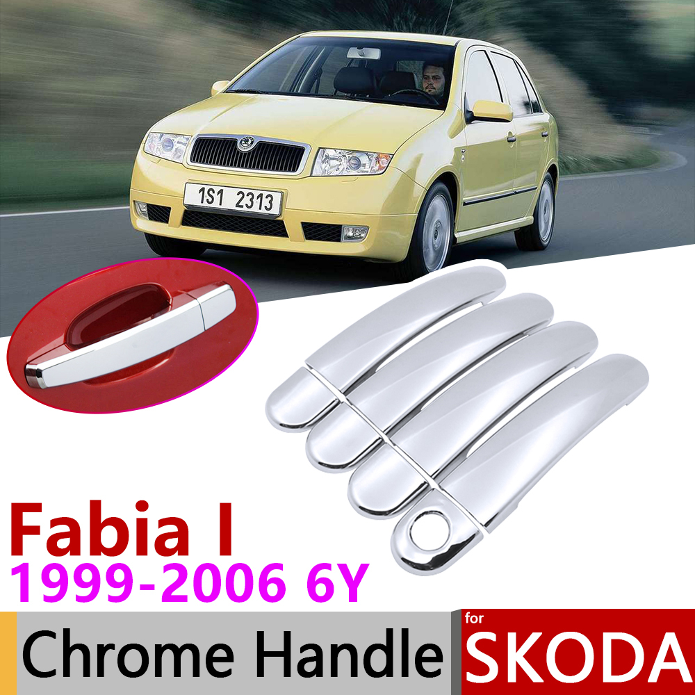 For Skoda Fabia I 6Y MK1 1999~2006 Chrome Door Handle Cover Car Accessories Stickers Trim Set 2000 2001 2002 2003 2004 2005