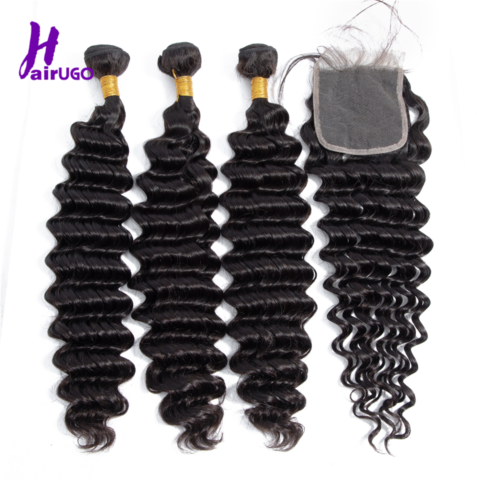 HairUGo Natural Color Hair Brazilian Deep Wave  Bundles With Closure Human Hair Extensions Non Remy Hair Weaving No Smell