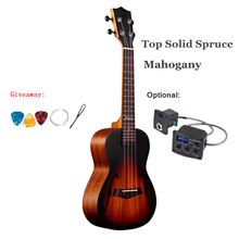 Mahogany Acoustic-Guitar Sunburst Electric 4-Strings Mini Top Uke Concert Solid Spruce