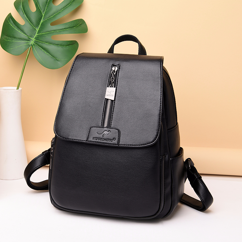 H7646c4d075ca4e318ddb3e255c940a0aU - Women Leather Backpacks High Quality Sac A Dos Rucksacks For Girls Vintage Bagpack Solid Ladies Travel Back Pack School Female