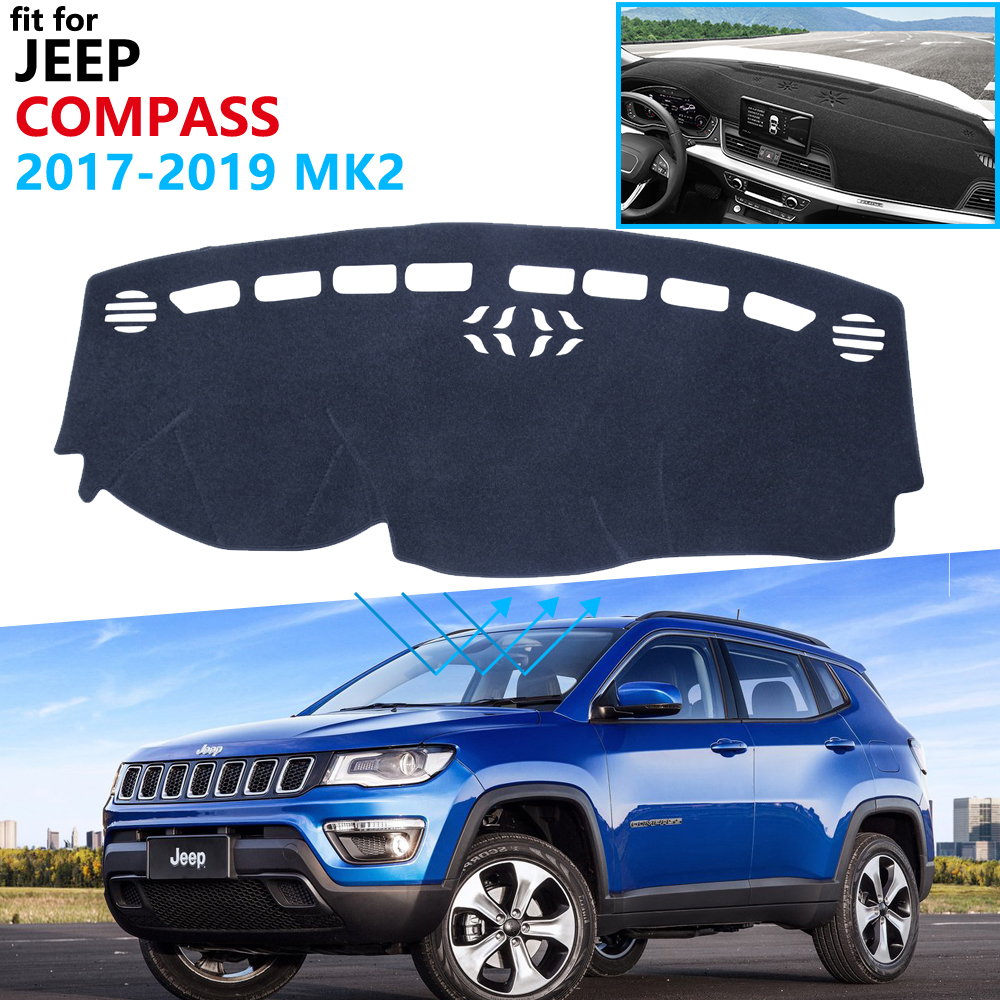 Dashboard Cover Protective Pad for <font><b>Jeep</b></font> <font><b>Compass</b></font> 2017 2018 <font><b>2019</b></font> MK2 Car <font><b>Accessories</b></font> Dash Board Sunshade Anti-UV Carpet 2nd Gen image