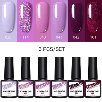 KOSKOE Nail Gel Polish Set 4PCS/6PCS Kit Glitter Holographics Soak Off UV Varnish For Art