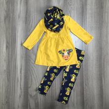 Outono/inverno bebê meninas 3 peças cachecol crianças roupas mostarda vaca girassol algodão manga longa outfits babados boutique