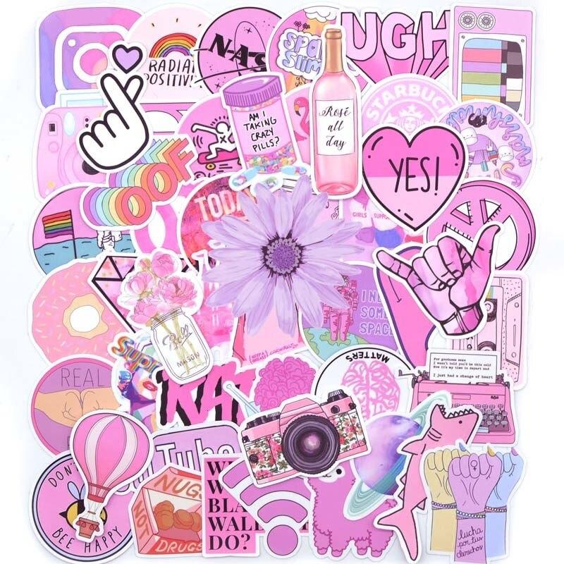 50pcs Cool Summer Vsco Stickers Pack Pink Girl Anime Stiker For