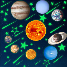 10pcs Planet Solar System Fluorescent PVC Wall Stick The Universe Planet Galaxy Children Room Bedroom Luminous Wall Stickers #1 купить недорого в Москве