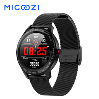 L9 Smart Watch Men ECG PPG Heart Rate Blood Pressure Smartwatch Full Round Touch Screen Stainless Steel Bezel Fitness Tracker